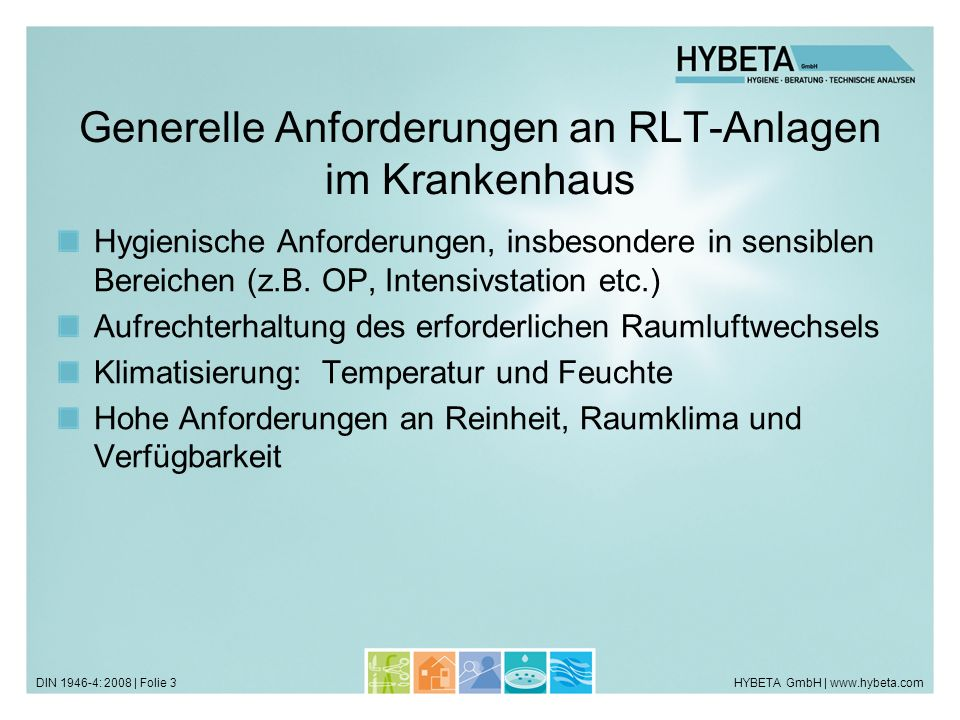 HYBETA GmbH   www.hybeta.comDIN 1946-4: 2008   Folie 14 Sondierungsgespräch Ortsbesichtigung Prüfung der Lüftungspläne Machbarkeitsprüfung Einordnung der Raumklassen Zuordnung von RLT-Anlagen und Versorgungsbereichen Schaltungsmöglichkeiten der Bestandsanlagen