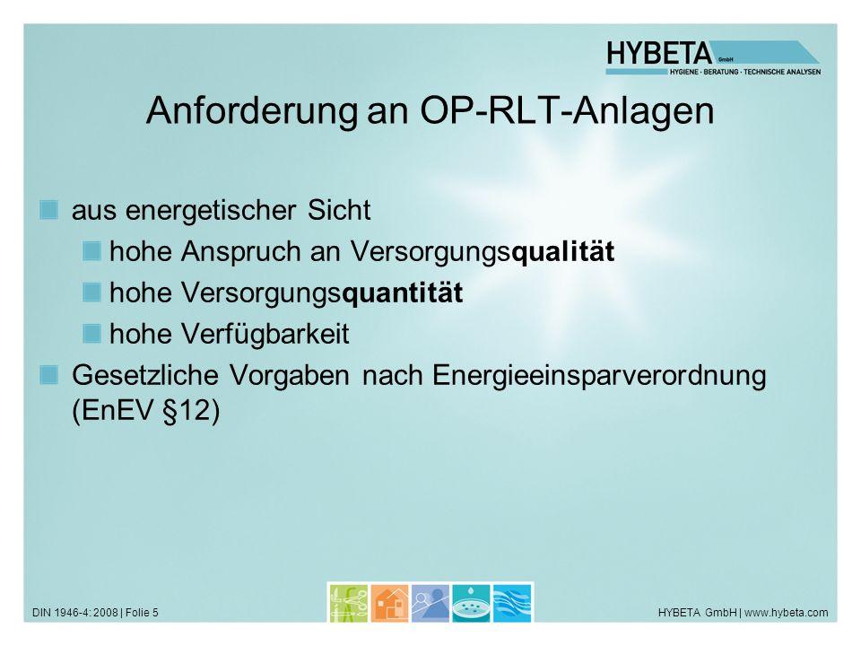 HYBETA GmbH | www.hybeta.comDIN 1946-4: 2008 | Folie 5 Anforderung an OP-RLT-Anlagen aus energetischer Sicht hohe Anspruch an Versorgungsqualität hohe