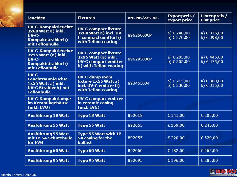 Seite 36 Martin Ferres, Seite 36 Leuchten Fixtures Art.-Nr./Art.-No. Exportpreis / export price Listenpreis / List price UV-C-Kompaktleuchte 2x60 Watt