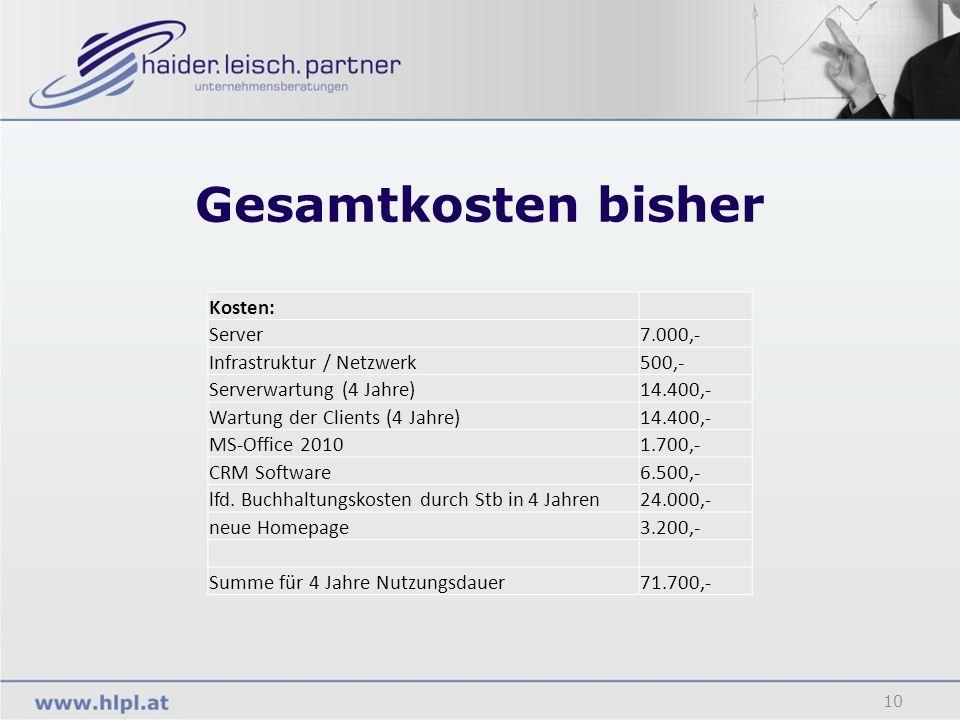 Gesamtkosten bisher 10 Kosten: Server7.000,- Infrastruktur / Netzwerk500,- Serverwartung (4 Jahre)14.400,- Wartung der Clients (4 Jahre)14.400,- MS-Of