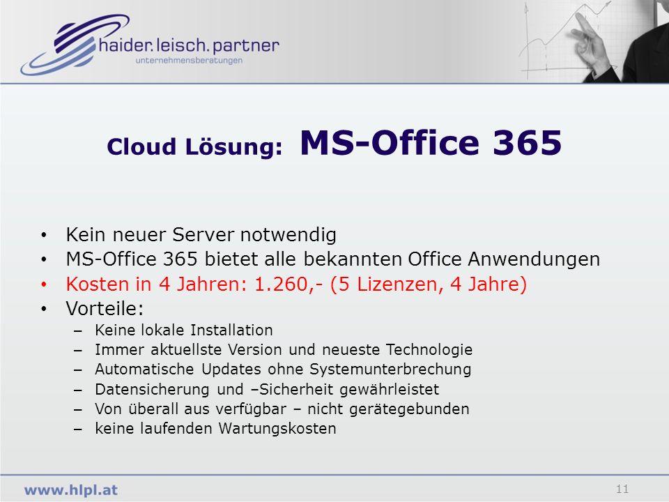Cloud Lösung: MS-Office 365 11 Kein neuer Server notwendig MS-Office 365 bietet alle bekannten Office Anwendungen Kosten in 4 Jahren: 1.260,- (5 Lizen