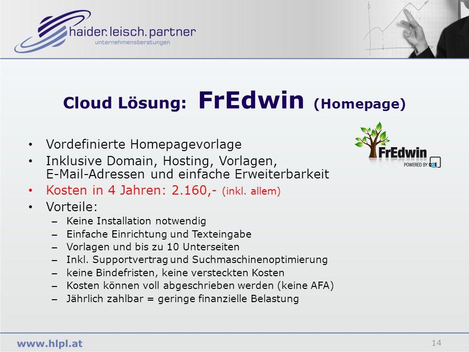 Cloud Lösung: FrEdwin (Homepage) 14 Vordefinierte Homepagevorlage Inklusive Domain, Hosting, Vorlagen, E-Mail-Adressen und einfache Erweiterbarkeit Ko