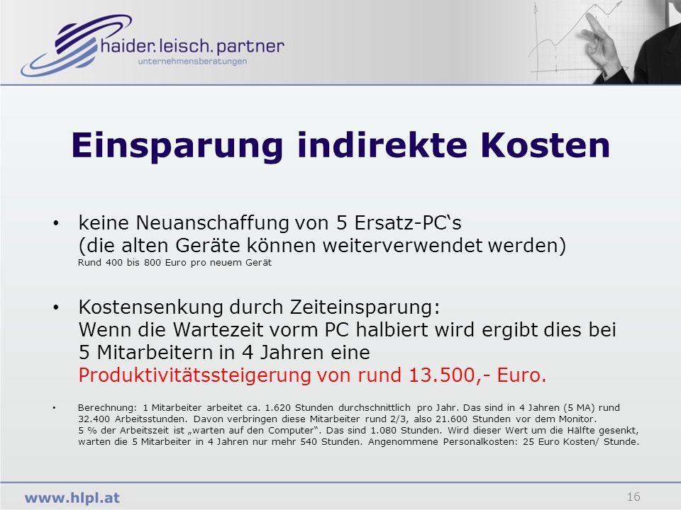 Einsparung indirekte Kosten 16 keine Neuanschaffung von 5 Ersatz-PCs (die alten Geräte können weiterverwendet werden) Rund 400 bis 800 Euro pro neuem