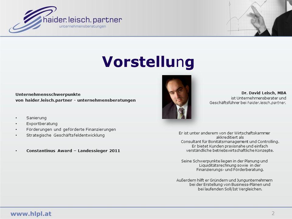 Vorstellung Unternehmensschwerpunkte von haider.leisch.partner - unternehmensberatungen Sanierung Exportberatung Förderungen und geförderte Finanzieru