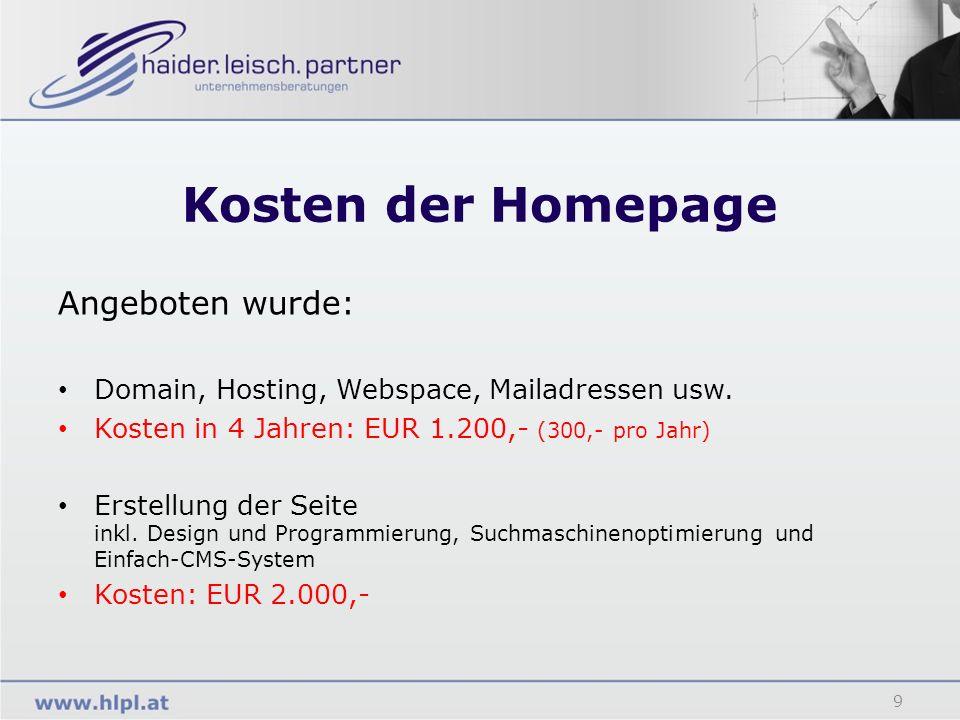 Kosten der Homepage 9 Angeboten wurde: Domain, Hosting, Webspace, Mailadressen usw. Kosten in 4 Jahren: EUR 1.200,- (300,- pro Jahr) Erstellung der Se