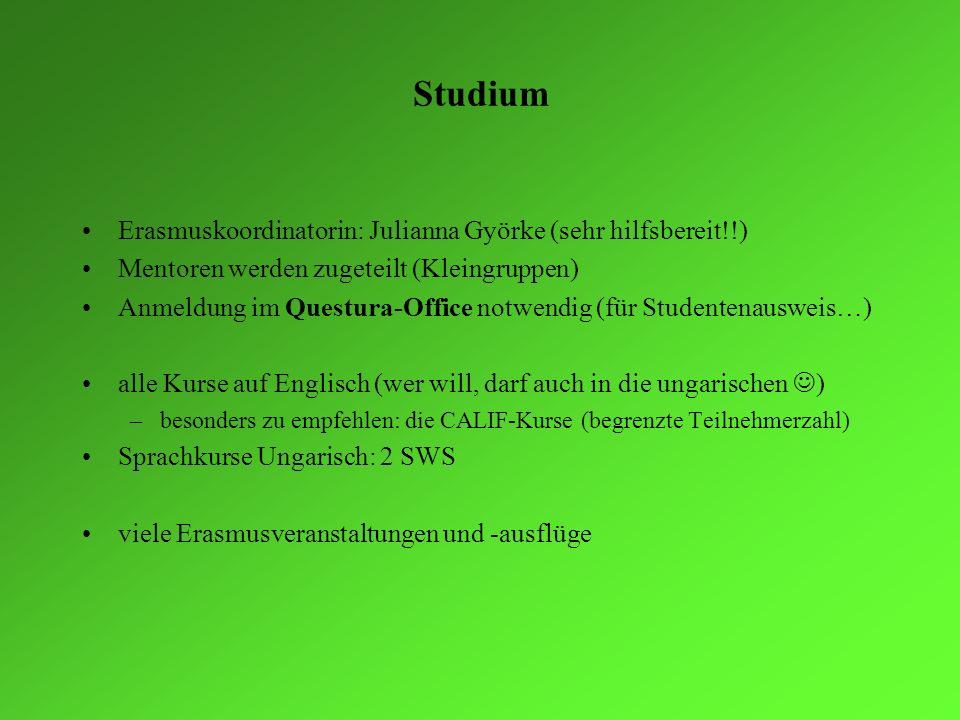 Studium Erasmuskoordinatorin: Julianna Györke (sehr hilfsbereit!!) Mentoren werden zugeteilt (Kleingruppen) Anmeldung im Questura-Office notwendig (fü