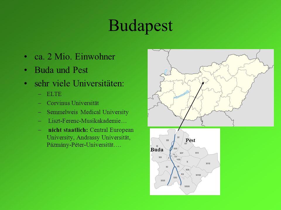 Budapest ca. 2 Mio. Einwohner Buda und Pest sehr viele Universitäten: –ELTE –Corvinus Universität –Semmelweis Medical University – Liszt-Ferenc-Musika