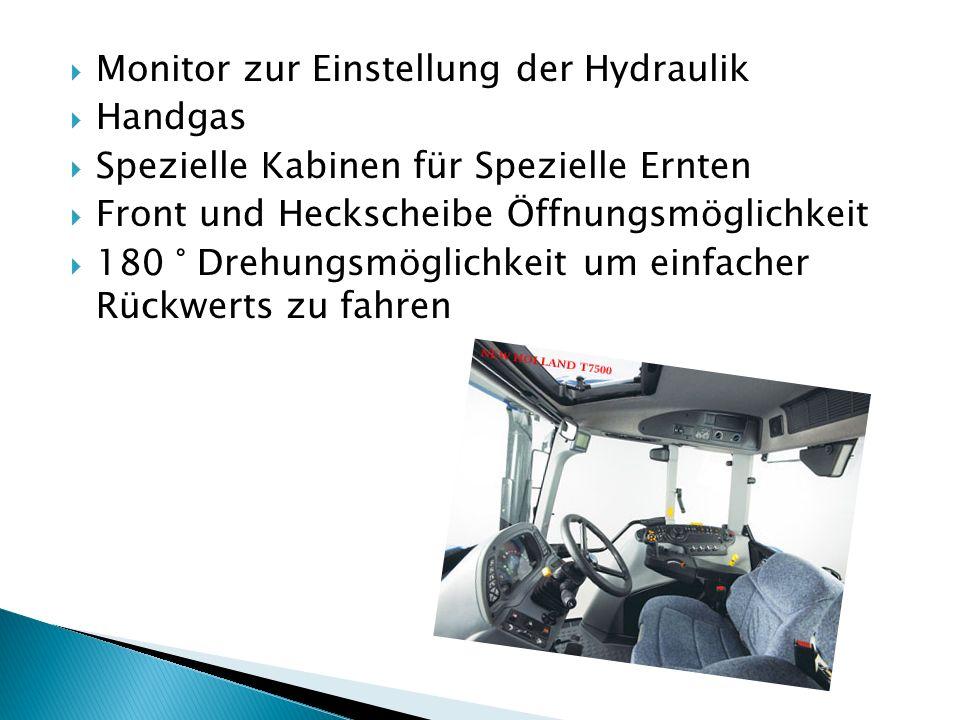 Monitor zur Einstellung der Hydraulik Handgas Spezielle Kabinen für Spezielle Ernten Front und Heckscheibe Öffnungsmöglichkeit 180 ° Drehungsmöglichke