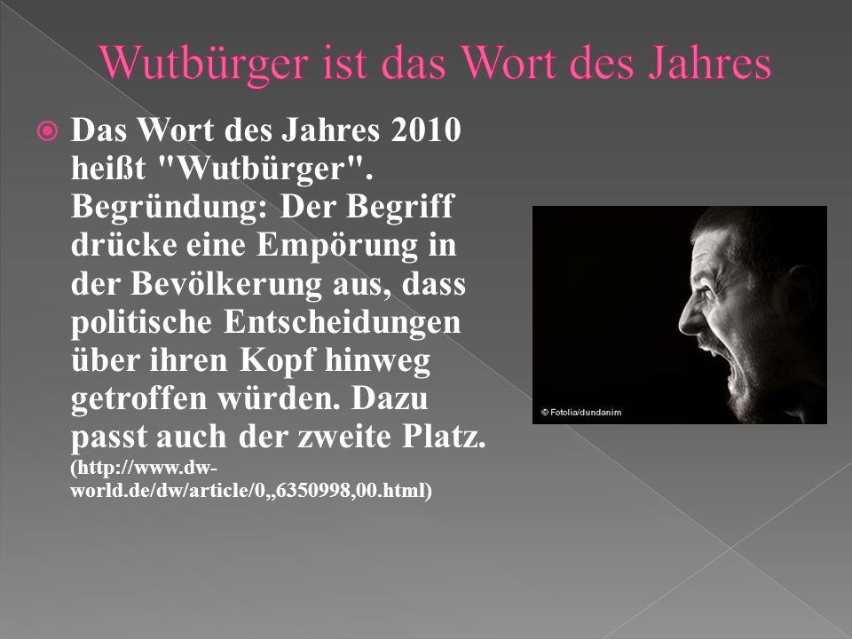 Das Wort des Jahres 2010 heißt Wutbürger .