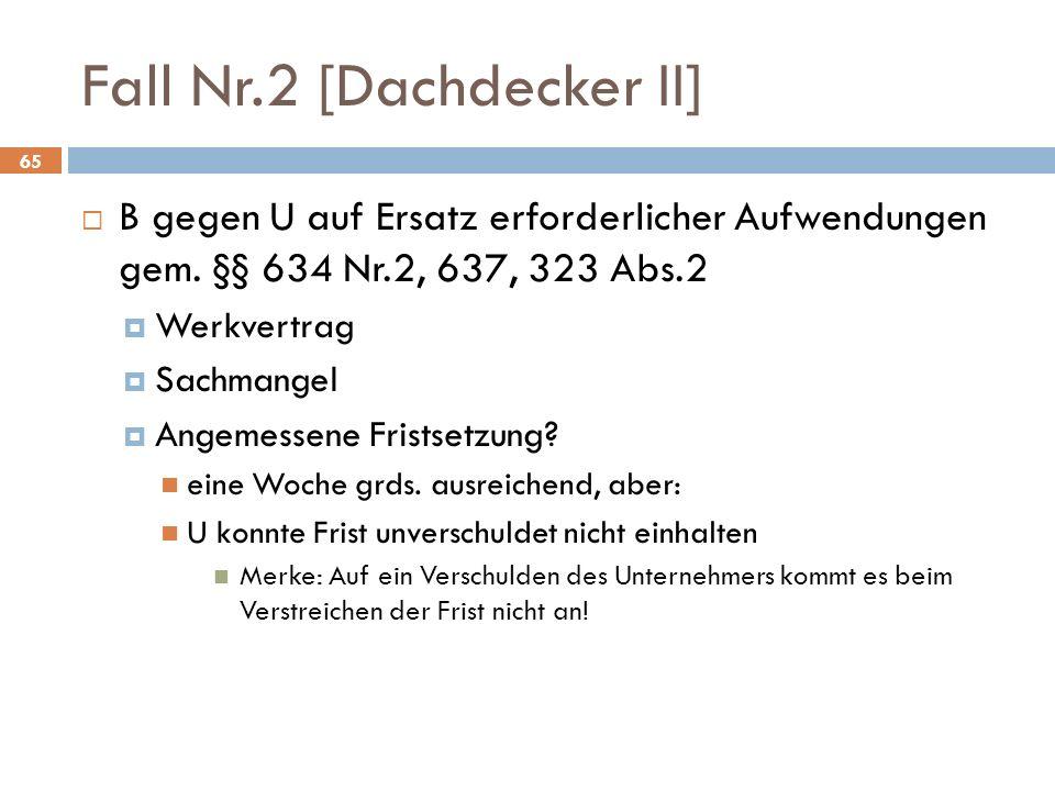 Fall Nr.2 [Dachdecker II] B gegen U auf Ersatz erforderlicher Aufwendungen gem.