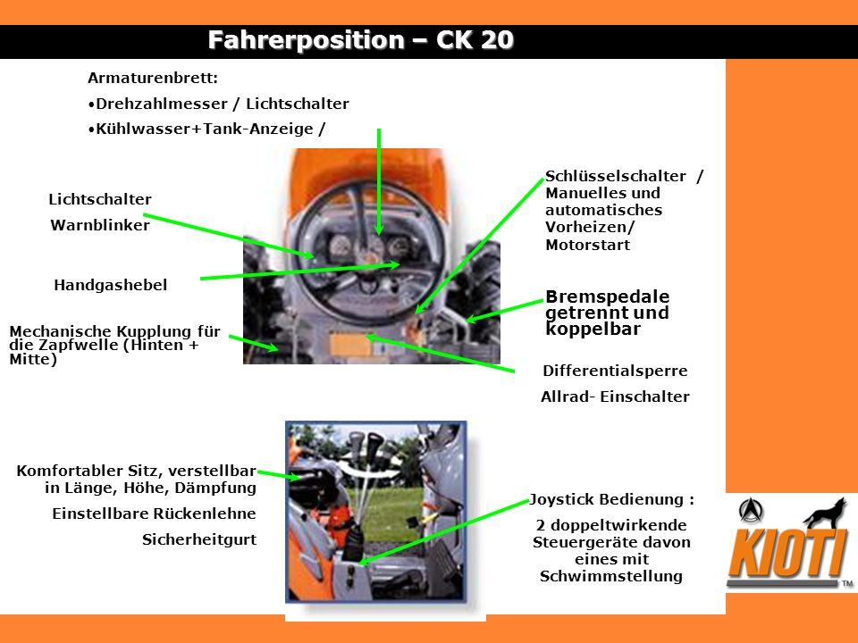 Fahrerposition – CK 20 Armaturenbrett: Drehzahlmesser / Lichtschalter Kühlwasser+Tank-Anzeige / Lichtschalter Warnblinker Handgashebel Mechanische Kup