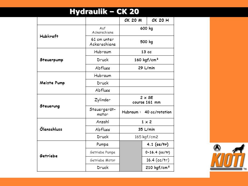 Hydraulik – CK 20 CK 20 MCK 20 H Hubkraft Auf Ackerschiene 600 kg 61 cm unter Ackerschiene 500 kg Steuerpump Hubraum 13 cc Druck 160 kgf/cm² Abfluss 2