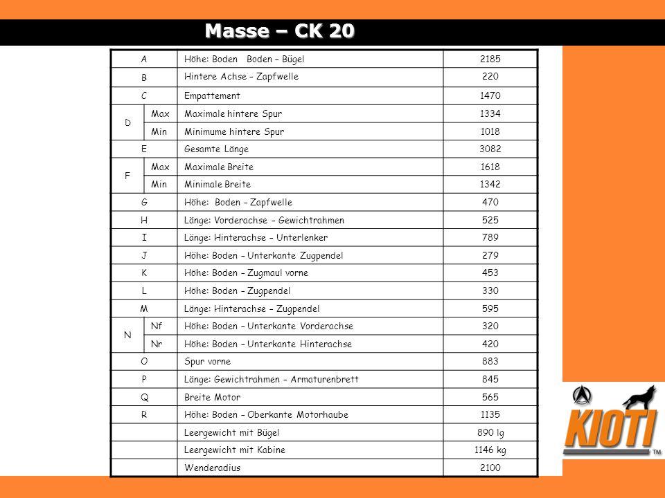 Masse – CK 20 AHöhe: Boden Boden – Bügel2185 B Hintere Achse – Zapfwelle220 CEmpattement1470 D MaxMaximale hintere Spur1334 MinMinimume hintere Spur10