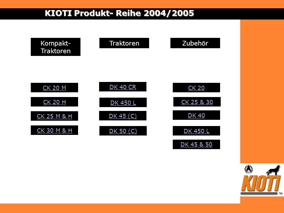 ZubehörKompakt- Traktoren Traktoren CK 20 M CK 20 H DK 40 CR DK 40 DK 450 L DK 45 & 50 DK 450 L DK 45 (C) KIOTI Produkt- Reihe 2004/2005 DK 50 (C) CK