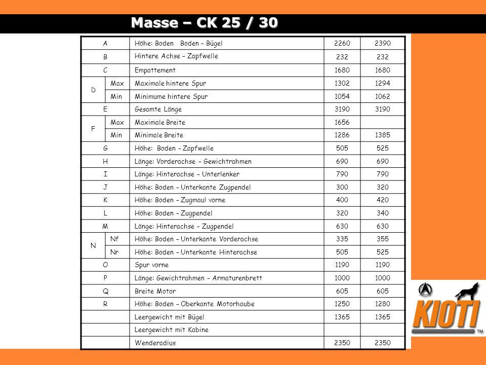 Masse – CK 25 / 30 AHöhe: Boden Boden – Bügel22602390 B Hintere Achse – Zapfwelle 232 CEmpattement1680 D MaxMaximale hintere Spur13021294 MinMinimume