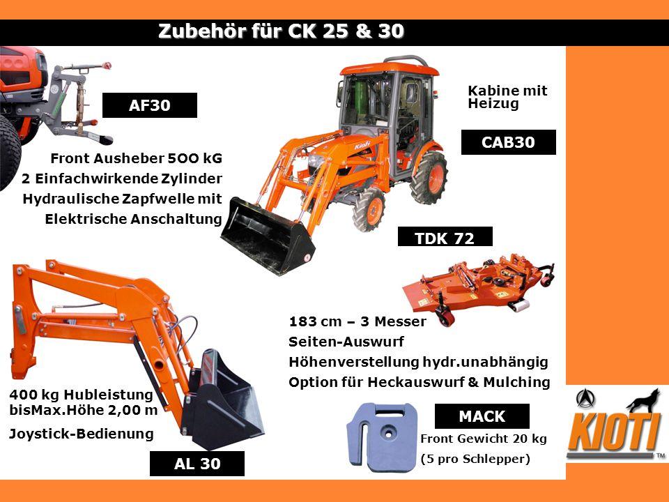 AL 30 TDK 72 Zubehör für CK 25 & 30 MACK Front Gewicht 20 kg (5 pro Schlepper) CAB30 Kabine mit Heizug Front Ausheber 5OO kG 2 Einfachwirkende Zylinde