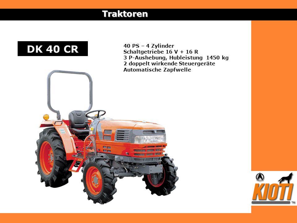 Traktoren DK 40 CR 40 PS – 4 Zylinder Schaltgetriebe 16 V + 16 R 3 P-Aushebung, Hubleistung 1450 kg 2 doppelt wirkende Steuergeräte Automatische Zapfw