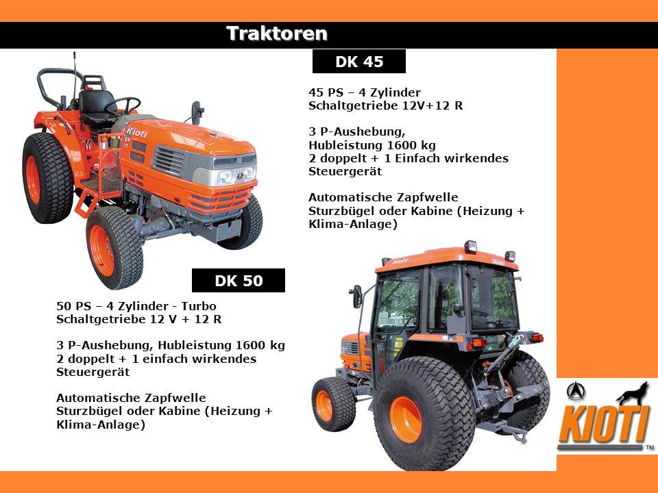DK 45Traktoren DK 50 50 PS – 4 Zylinder - Turbo Schaltgetriebe 12 V + 12 R 3 P-Aushebung, Hubleistung 1600 kg 2 doppelt + 1 einfach wirkendes Steuerge