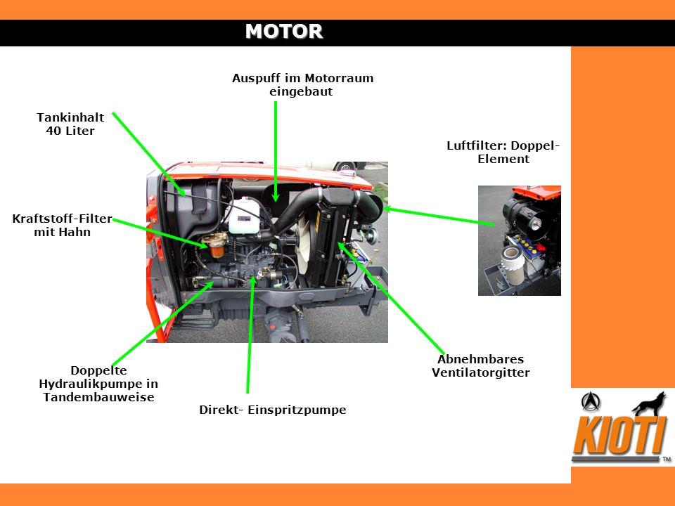 MOTOR Auspuff im Motorraum eingebaut Doppelte Hydraulikpumpe in Tandembauweise Direkt- Einspritzpumpe Luftfilter: Doppel- Element Tankinhalt 40 Liter