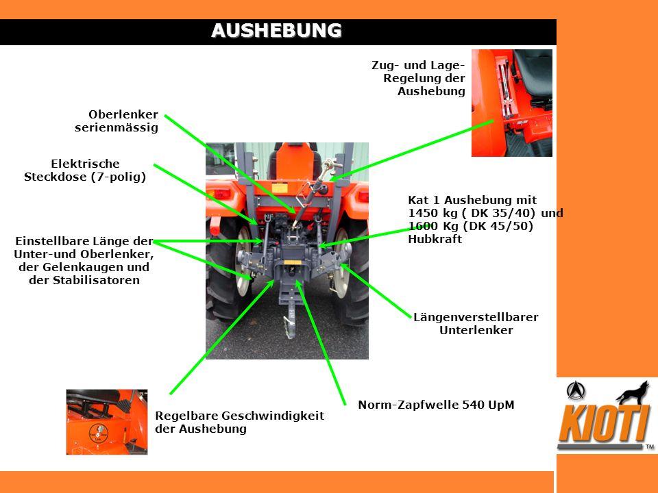 AUSHEBUNG Hubkraft auf der Ackerschiene : 1450 kg (DK35/40) 1600 kg (DK45/50 ) Längenverstellbarer Unterlenker Einstellbare Länge der Unter-und Oberle