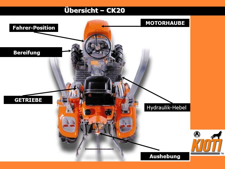 Motor – CK20 21 ps 3 Zylinder 927 cm 3 Treibstoff tank von 20 L Einfacher Zugang zum Kühler, zu Luftfilter und Batterie Abnehmbares Kühlergitter Auspuff, in den Motorraum integriert In 2 Zonen geteilter Motorraum: Motor im hinteren Teil, Zubehör an der Vorderseite
