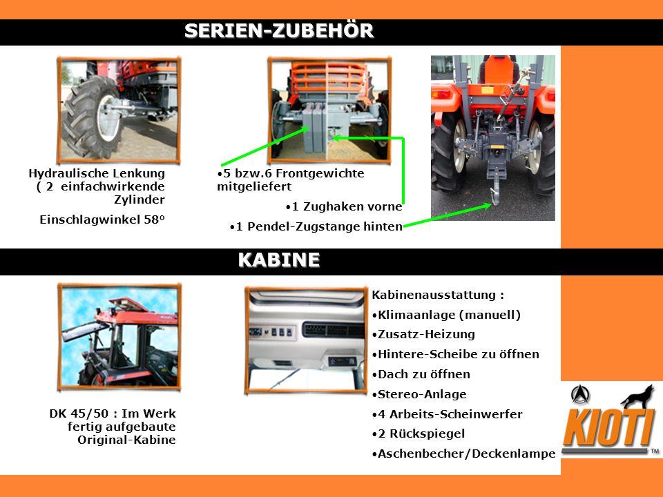 SERIEN-ZUBEHÖR Kabinenausstattung : Klimaanlage (manuell) Zusatz-Heizung Hintere-Scheibe zu öffnen Dach zu öffnen Stereo-Anlage 4 Arbeits-Scheinwerfer