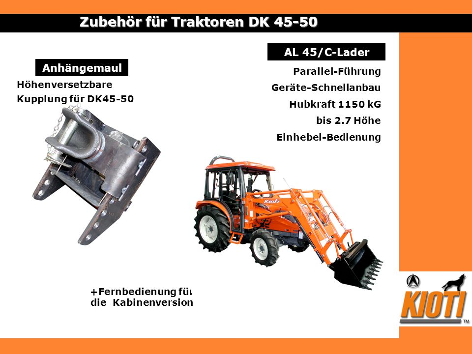 Anhängemaul Zubehör für Traktoren DK 45-50 Höhenversetzbare Kupplung für DK45-50 AL 45/C-Lader Parallel-Führung Geräte-Schnellanbau Hubkraft 1150 kG b