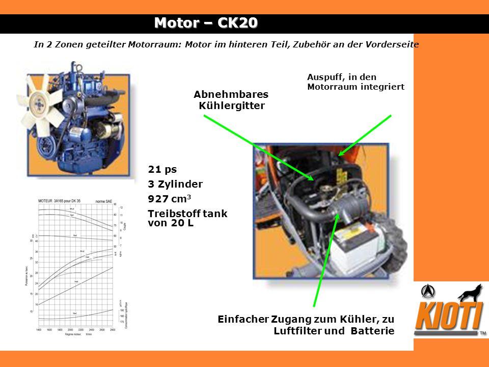 Motor – CK20 21 ps 3 Zylinder 927 cm 3 Treibstoff tank von 20 L Einfacher Zugang zum Kühler, zu Luftfilter und Batterie Abnehmbares Kühlergitter Auspu