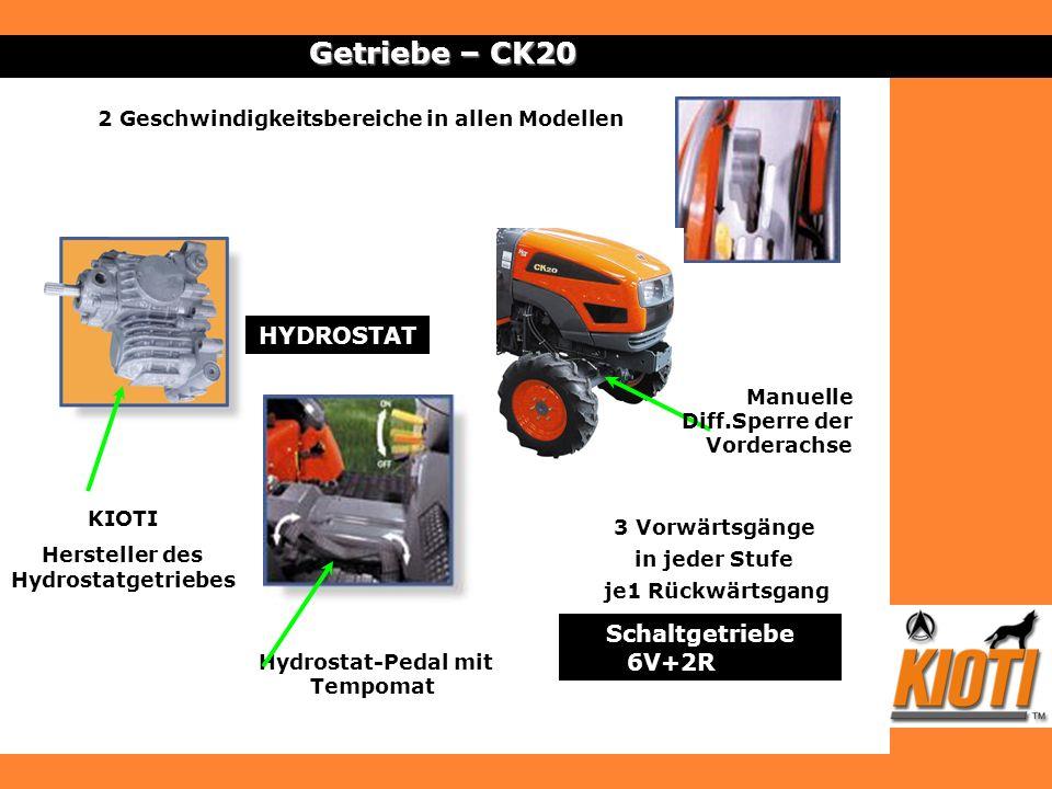 Getriebe – CK20 2 Geschwindigkeitsbereiche in allen Modellen HYDROSTAT Hydrostat-Pedal mit Tempomat KIOTI Hersteller des Hydrostatgetriebes Schaltgetr