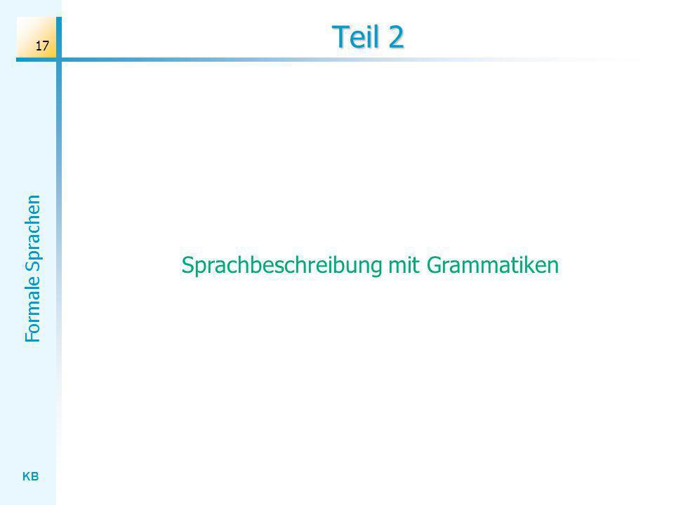 KB Formale Sprachen 17 Teil 2 Sprachbeschreibung mit Grammatiken