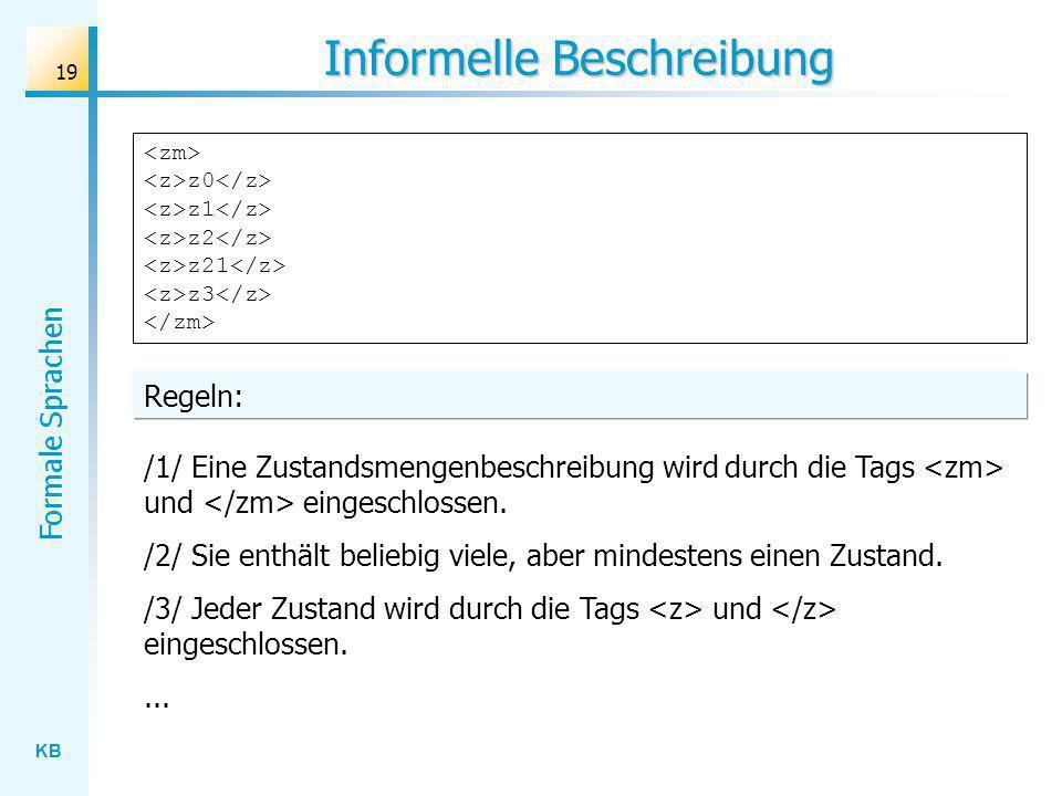 KB Formale Sprachen 19 Informelle Beschreibung z0 z1 z2 z21 z3 Regeln: /1/ Eine Zustandsmengenbeschreibung wird durch die Tags und eingeschlossen. /2/