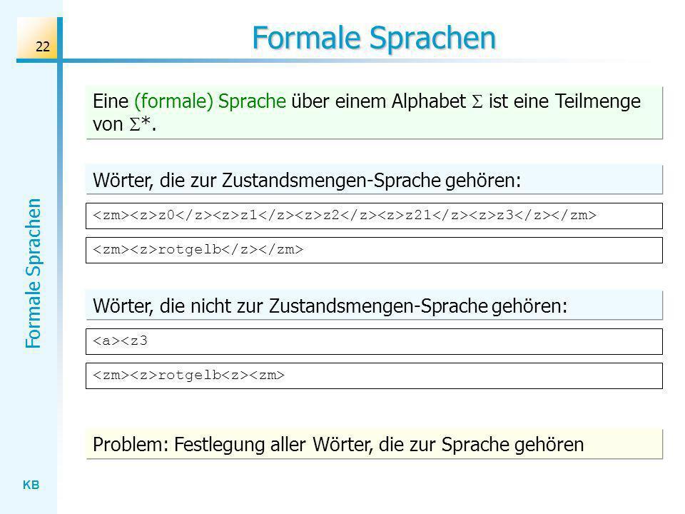 KB Formale Sprachen 22 Formale Sprachen z0 z1 z2 z21 z3 Eine (formale) Sprache über einem Alphabet ist eine Teilmenge von *. Wörter, die zur Zustandsm