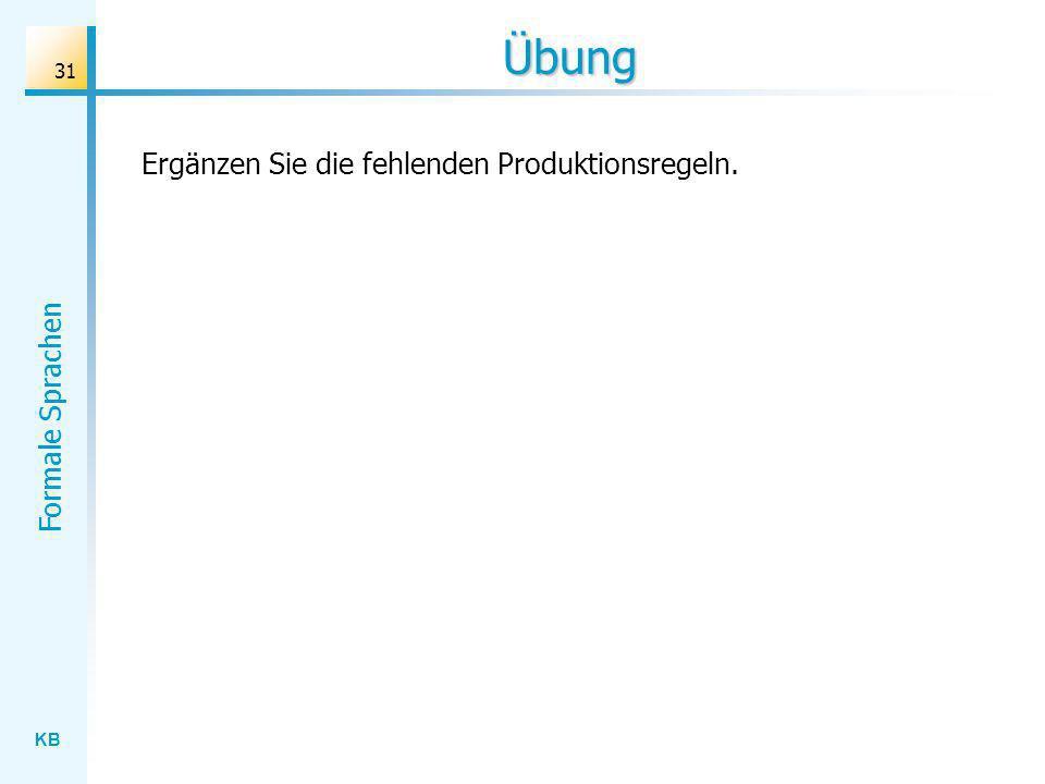 KB Formale Sprachen 31 Übung Ergänzen Sie die fehlenden Produktionsregeln.
