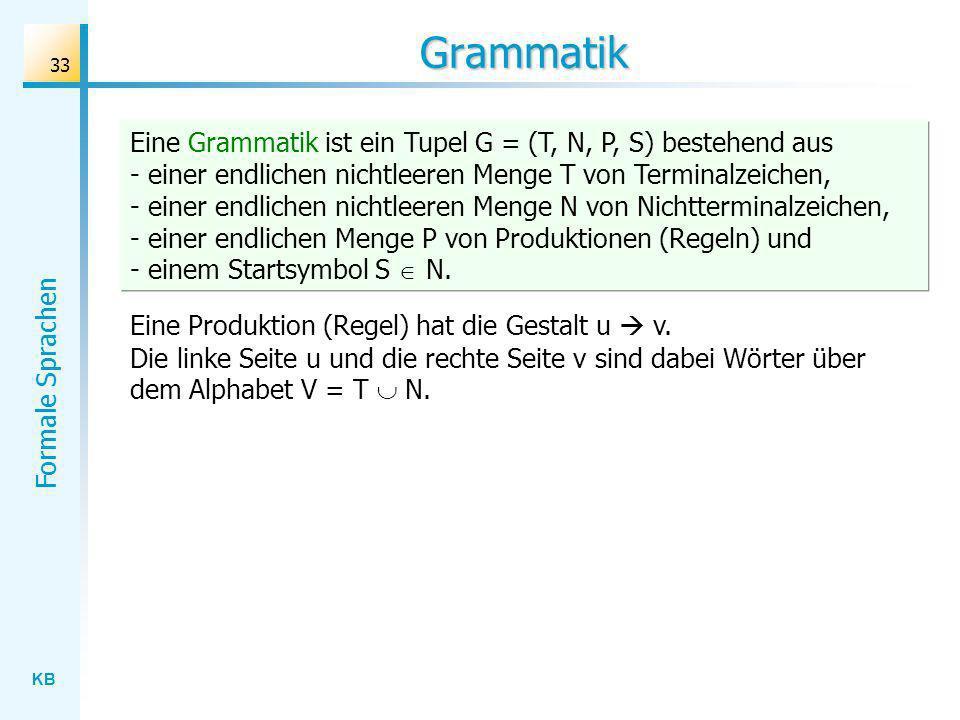 KB Formale Sprachen 33 Grammatik Eine Grammatik ist ein Tupel G = (T, N, P, S) bestehend aus - einer endlichen nichtleeren Menge T von Terminalzeichen