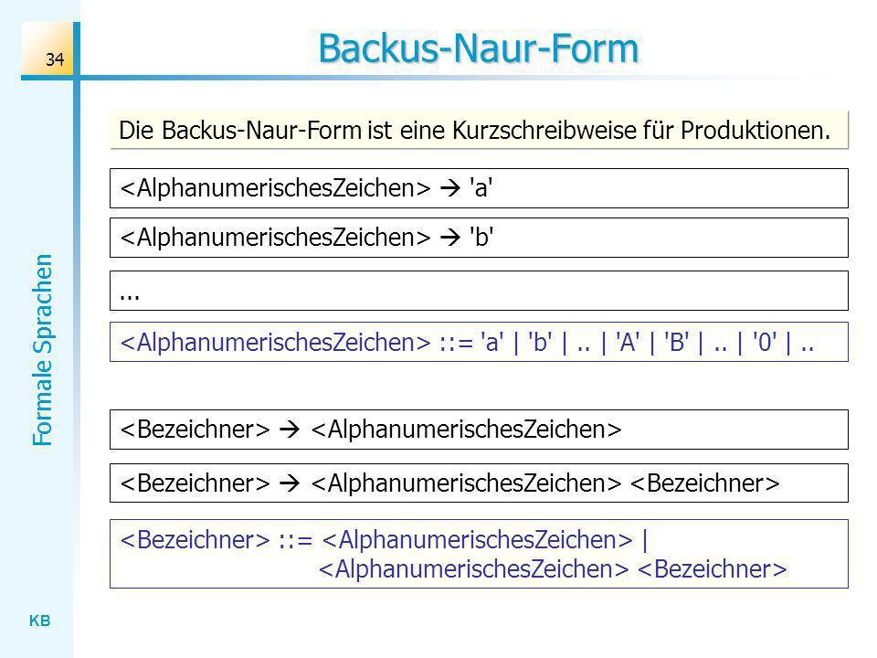 KB Formale Sprachen 34 Backus-Naur-Form ::= | ::= 'a' | 'b' |.. | 'A' | 'B' |.. | '0' |.. Die Backus-Naur-Form ist eine Kurzschreibweise für Produktio