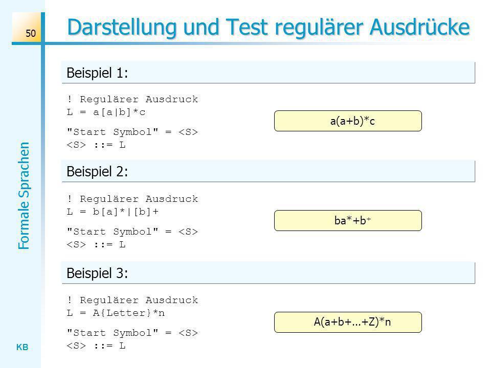 KB Formale Sprachen 50 Darstellung und Test regulärer Ausdrücke ! Regulärer Ausdruck L = a[a|b]*c