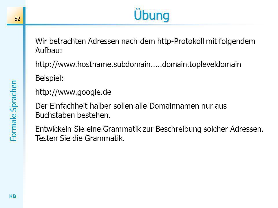 KB Formale Sprachen 52 Übung Wir betrachten Adressen nach dem http-Protokoll mit folgendem Aufbau: http://www.hostname.subdomain.....domain.topleveldo