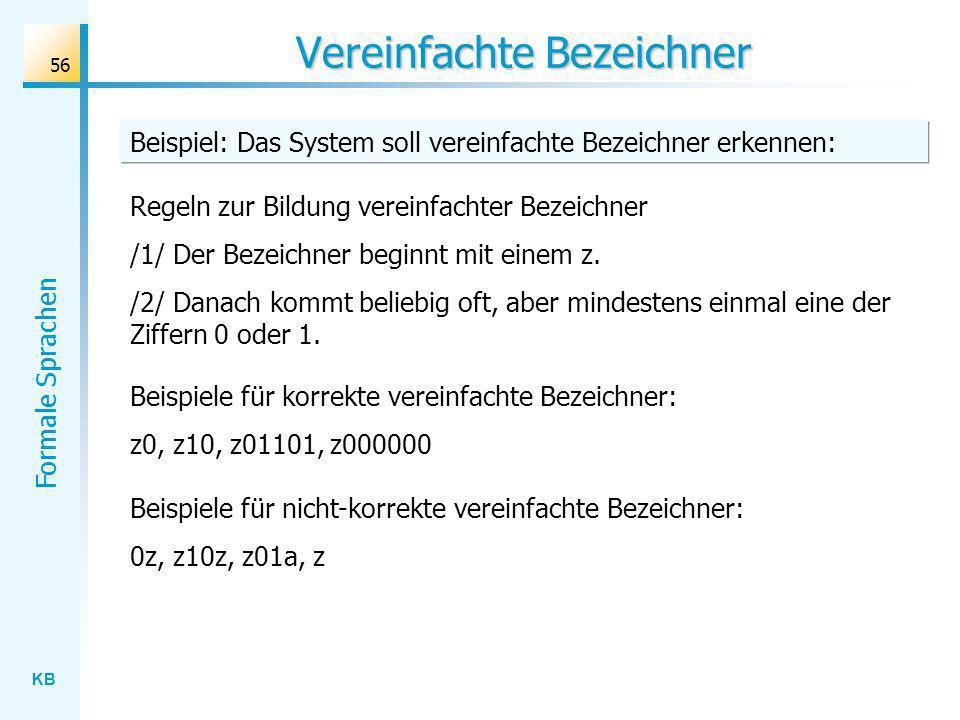 KB Formale Sprachen 56 Vereinfachte Bezeichner Beispiel: Das System soll vereinfachte Bezeichner erkennen: Regeln zur Bildung vereinfachter Bezeichner