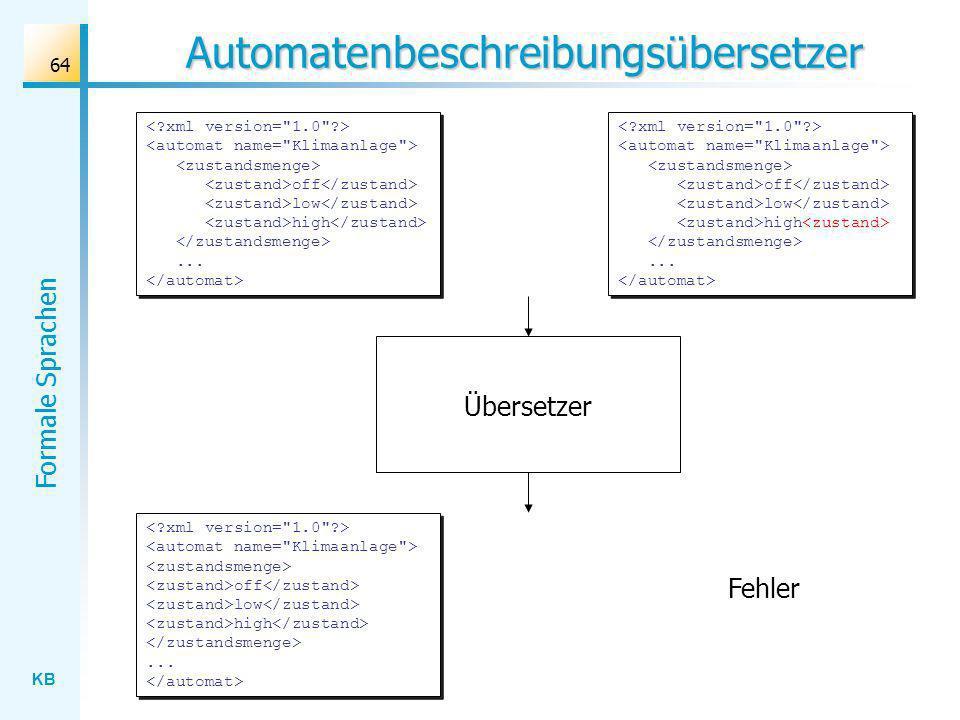 KB Formale Sprachen 64 Automatenbeschreibungsübersetzer off low high... Fehler Übersetzer off low high...