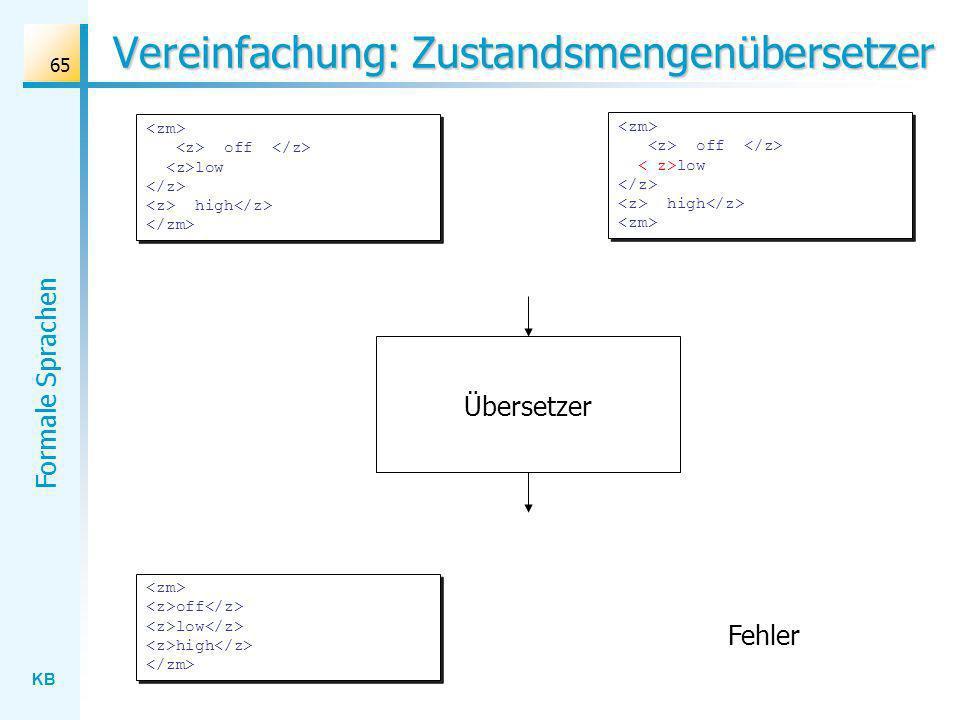 KB Formale Sprachen 65 Vereinfachung: Zustandsmengenübersetzer off low high Fehler Übersetzer off low high