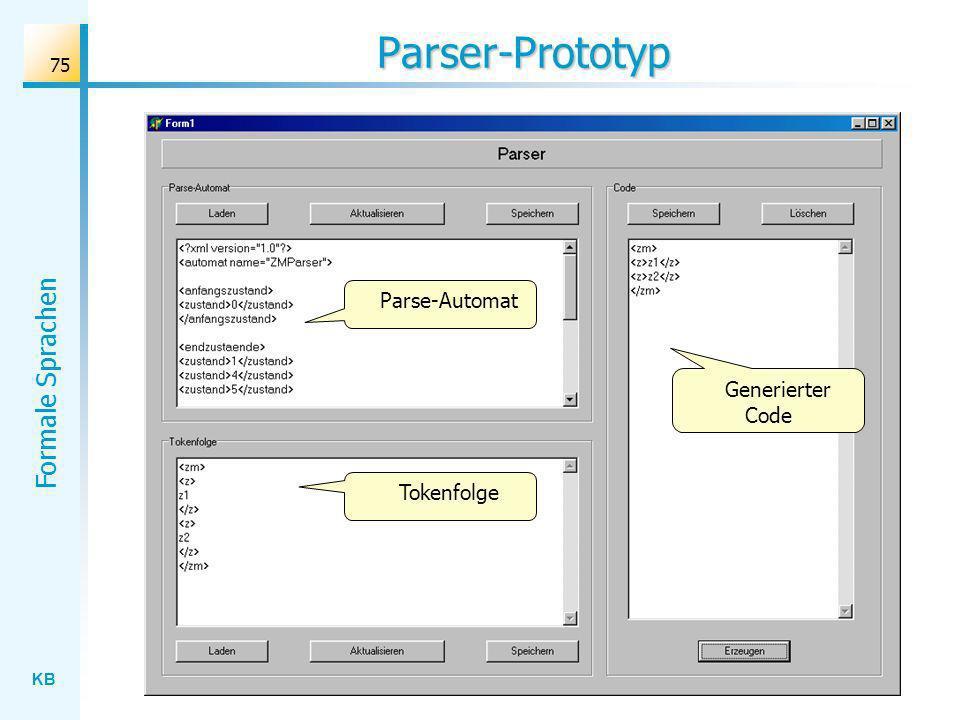 KB Formale Sprachen 75 Parser-Prototyp Parse-Automat Tokenfolge Generierter Code