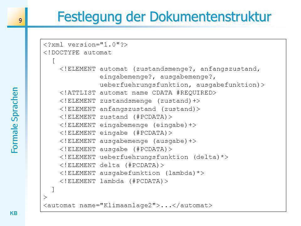 KB Formale Sprachen 9 Festlegung der Dokumentenstruktur ] >...