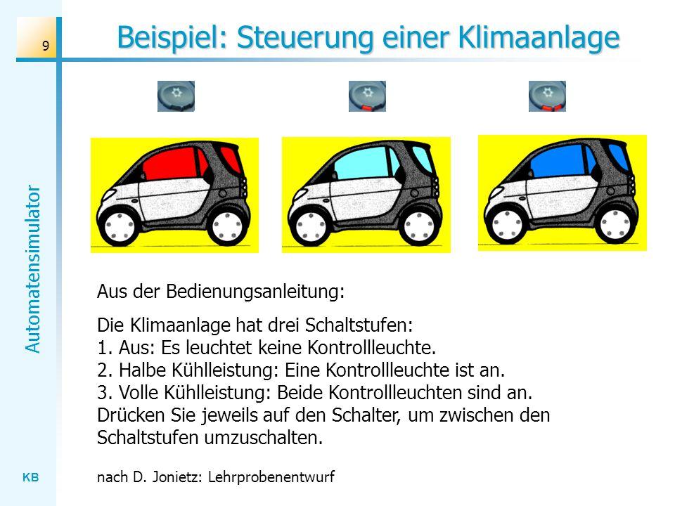 KB Automatensimulator 10 Übung Beschreiben Sie das Verhalten der Klimaanlage mit Hilfe eines endlichen Automaten.