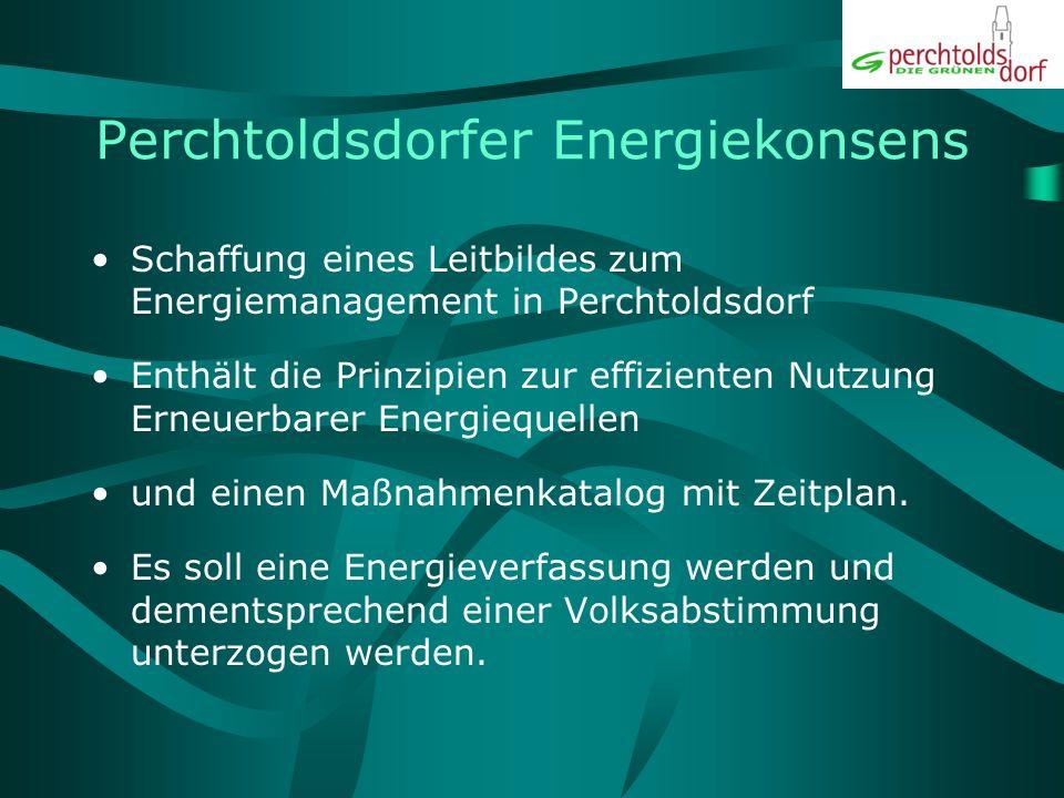 Perchtoldsdorfer Energiekonsens Schaffung eines Leitbildes zum Energiemanagement in Perchtoldsdorf Enthält die Prinzipien zur effizienten Nutzung Erneuerbarer Energiequellen und einen Maßnahmenkatalog mit Zeitplan.