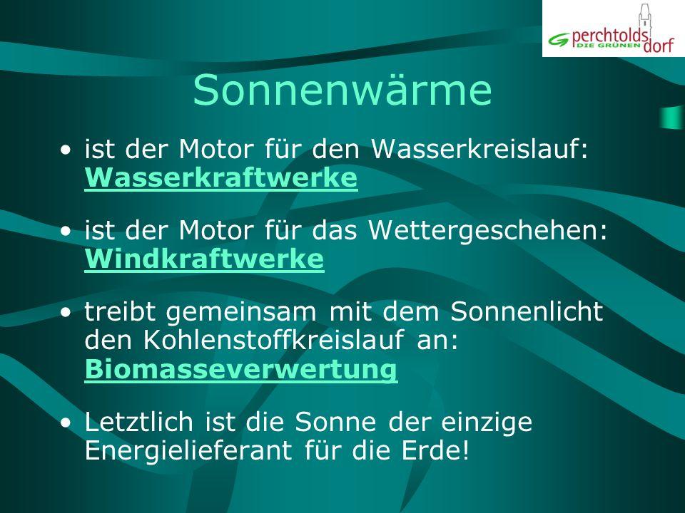 Die Sonne als Primär-Energiequelle 1 WÄRME + LICHT Atmosphärische KreisläufeKohlenstoffkreislauf 2WASSERWINDWachstum, Nahrungskette Kraftwerke 3STROMBIOMASSE Leitungen + VerbraucherFossilisierung 4WÄRME, LICHT + ANTRIEBÖL, GAS, KOHLE Transport, Aufbereitung, Kraftwerke 5 STROM, WÄRME, ANTRIEB