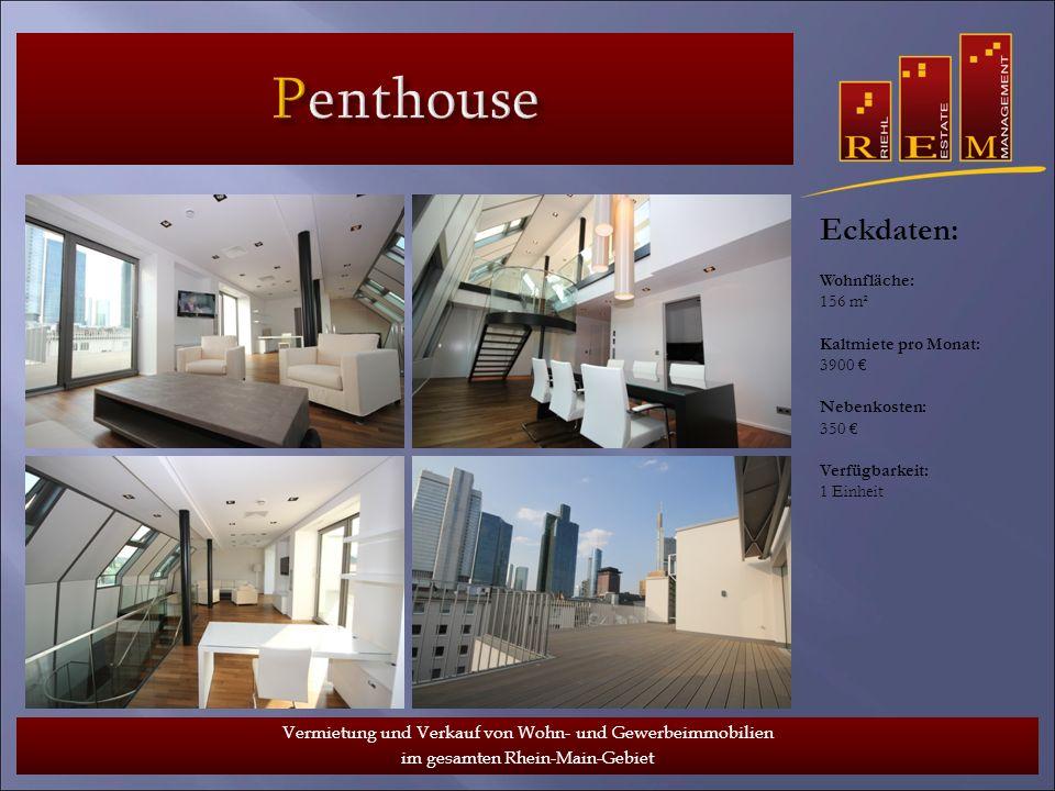 Vermietung und Verkauf von Wohn- und Gewerbeimmobilien im gesamten Rhein-Main-Gebiet Eckdaten: Wohnfläche: 156 m² Kaltmiete pro Monat: 3900 Nebenkosten: 350 Verfügbarkeit: 1 Einheit