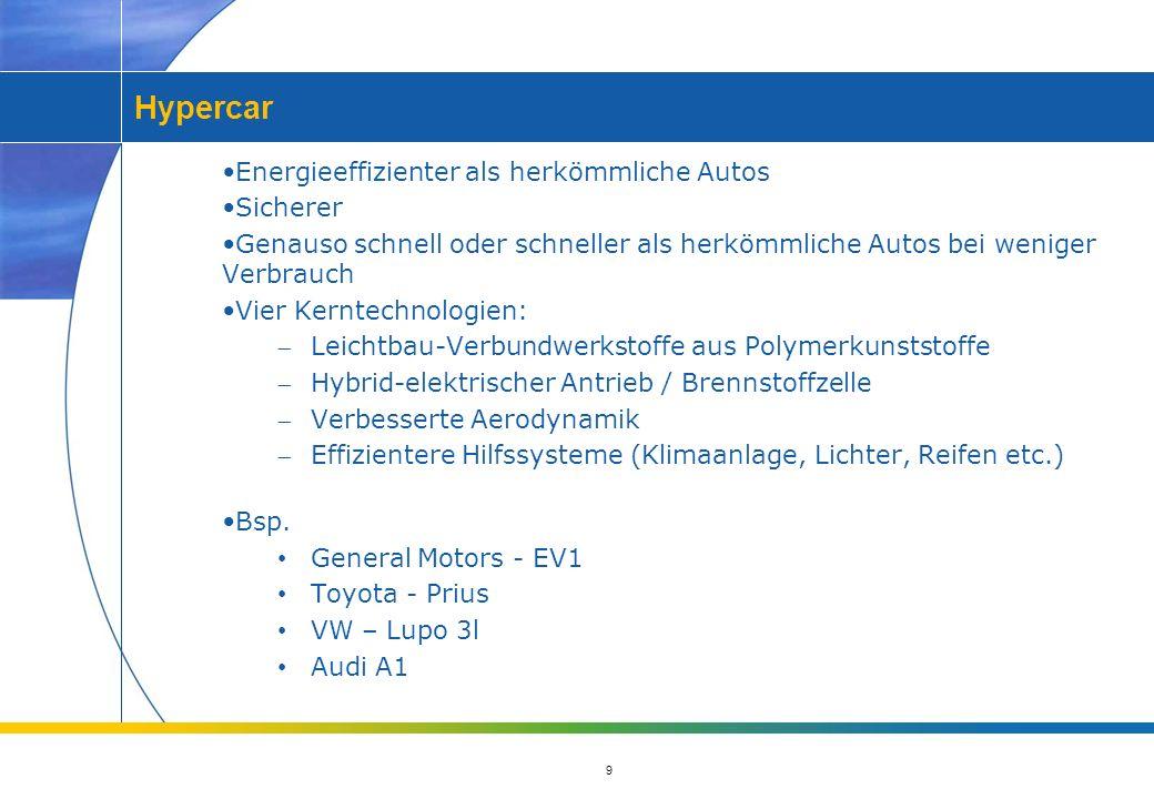 9 Hypercar Energieeffizienter als herkömmliche Autos Sicherer Genauso schnell oder schneller als herkömmliche Autos bei weniger Verbrauch Vier Kerntechnologien: Leichtbau-Verbundwerkstoffe aus Polymerkunststoffe Hybrid-elektrischer Antrieb / Brennstoffzelle Verbesserte Aerodynamik Effizientere Hilfssysteme (Klimaanlage, Lichter, Reifen etc.) Bsp.