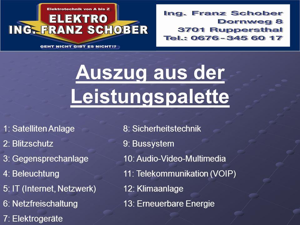 Auszug aus der Leistungspalette 1: Satelliten Anlage8: Sicherheitstechnik 2: Blitzschutz9: Bussystem 3: Gegensprechanlage10: Audio-Video-Multimedia 4:
