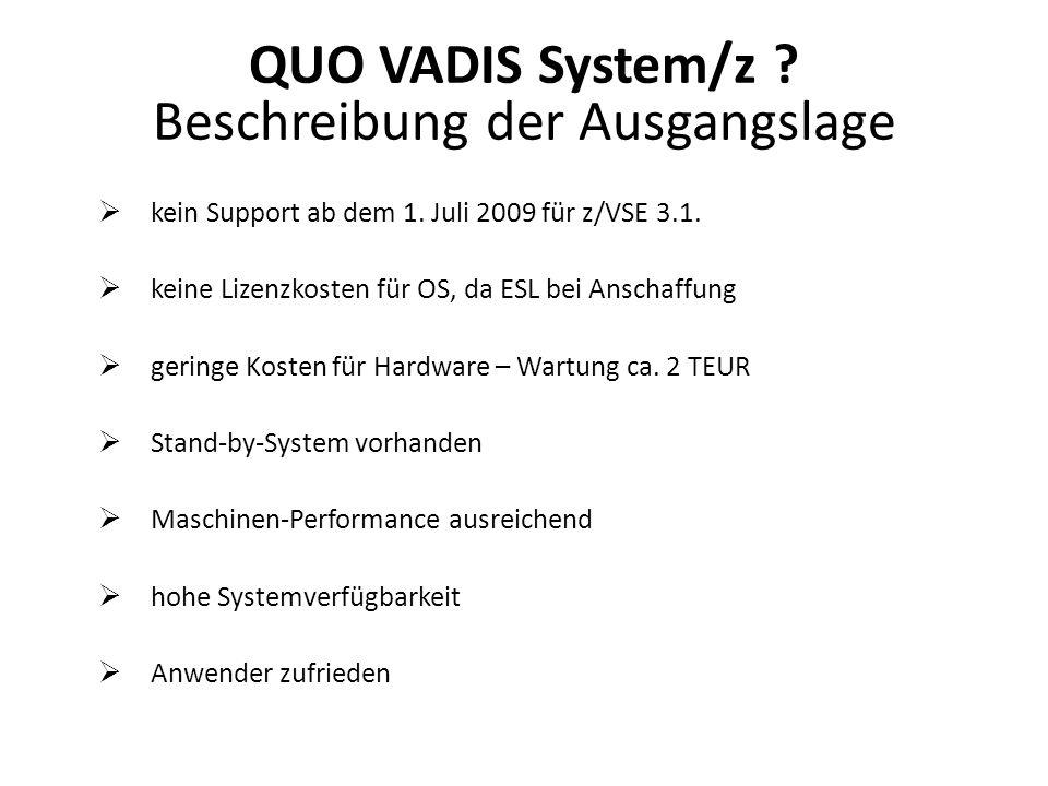 kein Support ab dem 1. Juli 2009 für z/VSE 3.1. keine Lizenzkosten für OS, da ESL bei Anschaffung geringe Kosten für Hardware – Wartung ca. 2 TEUR Sta