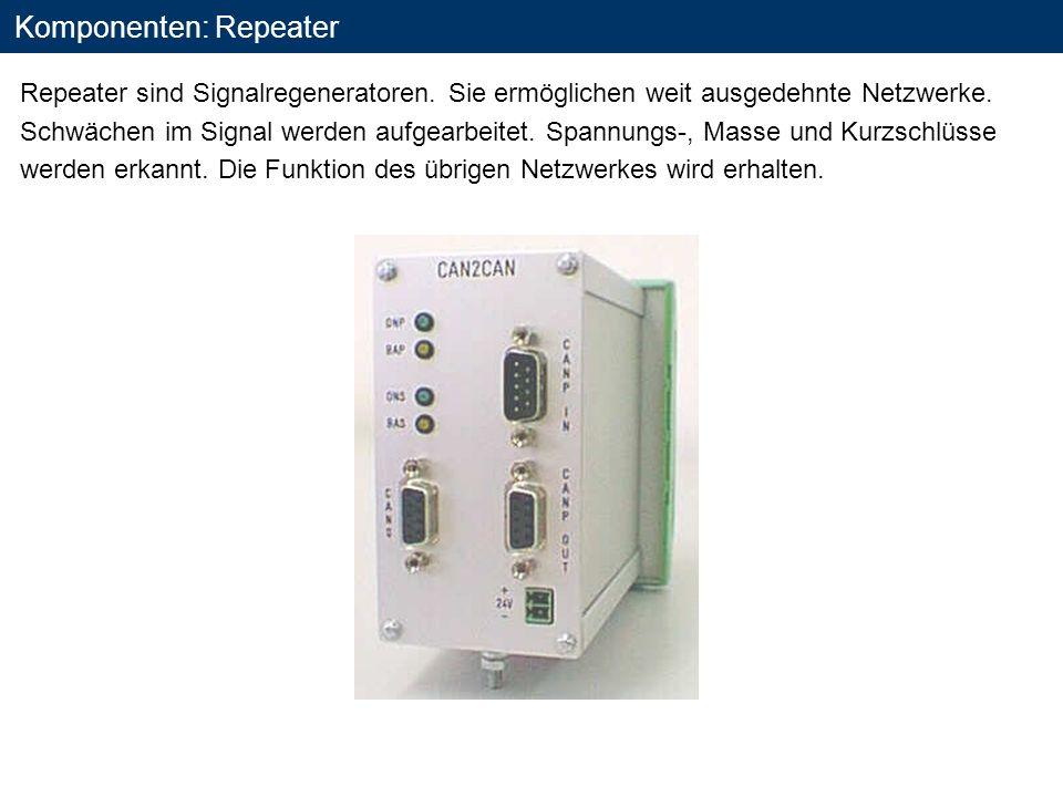 Komponenten: Repeater Repeater sind Signalregeneratoren. Sie ermöglichen weit ausgedehnte Netzwerke. Schwächen im Signal werden aufgearbeitet. Spannun